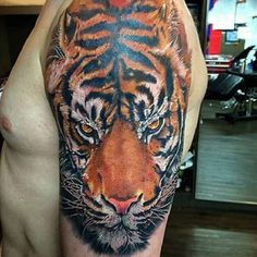 Upper Arm Tiger Tattoo   #Tattoo, #Tattooed, #Tattoos