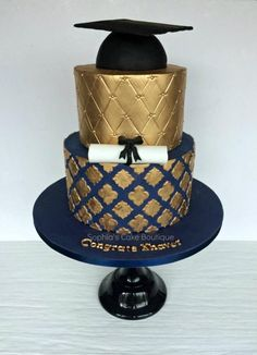 Navy & Gold Graduation  - Cake by Sophia's Cake Boutique