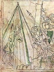 "Tenda Conica del XIII sec, tratta da ""Chanson de Roland"", British Library Ms… Medieval Manuscript, Illuminated Manuscript, British Library, Tent Pegs, Tent Design, Tent Decorations, Landsknecht, Medieval Armor, Effigy"