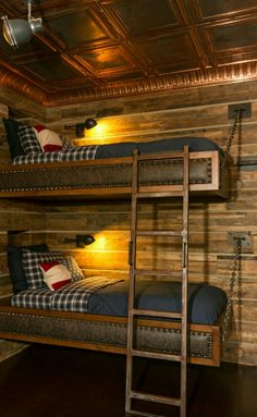 Super cool rustic bunk beds!