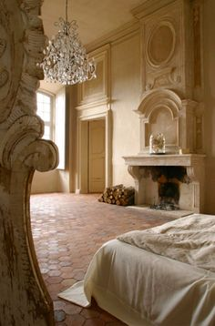 chateau de moissac, provence - bedroom to dream of, much less in. that fireplace, that chandelier, that architecture. Beautiful Bedrooms, House, Interior, Home, French Interior, Beautiful Homes, House Interior, Interior Design, French House