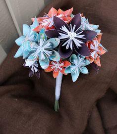 Kusudama bouquet, Choose your wedding colors! Alternative Bouquet, Origami bouquet, Wedding bouquet, Paper bouquet, Weddings by TheFlowerGirlAtlanta on Etsy https://www.etsy.com/listing/175809263/kusudama-bouquet-choose-your-wedding