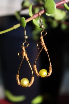 wire wrapped jewelry handmade pearl earrings bronze by shahrinalam, $15.00