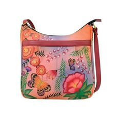 Women's ANNA by Anuschka Hand Painted Medium Cross Body 8268 ($181) ❤ liked on Polyvore featuring bags, handbags, shoulder bags, crossbody shoulder bag, hand bags, handbags shoulder bags, purses crossbody and red crossbody purse