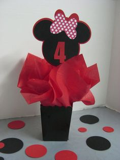 Minnie Mouse birthday decoration 3 in this lising  This listing is for 3 Minnie Mouse table decorations. Large confetti is included to decorate around the base of the centerpiece. AGE CAN BE CHANGED TO ANY NUMBER OR LETTER CAN BE USED INSTEAD OF THE AGE  IF YOU WOULD LIKE MORE OR LESSS THAN THREE, please contact us. When contacting, please always leave your party date and the age/letter you want on ay personalized items. Also, let us know any changes you need in colors as mentioned below...