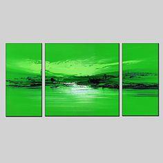 【今だけ☆送料無料】 アートパネル  抽象画3枚で1セット グリーン 蛍光色 ブラック 地平線【納期】お取り寄せ2~3週間前後で発送予定