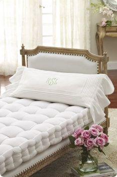 Lavinia Linen Bolster Pillow.  I love this minus the ruffles on the pillow.