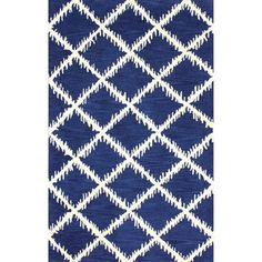 nuLOOM Hand-tufted Modern Trellis Wool Blue Rug (7'6 x 9'6)