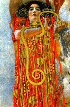 Gustav Klimt, One of three paintings for the Great Hall of the University, Medicine, was an allegory featuring the image of the goddess Hygieia -- the goddess of health.