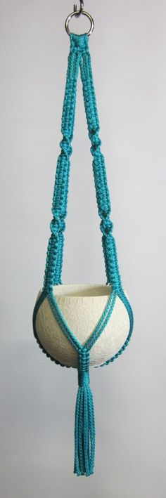 "Handmade Macrame Plant Hanger - 22"" (55.9cm) Turquoise: Amazon.co.uk: Kitchen & Home"