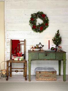 Hall de entrada vintage natalino    Eu Decoro