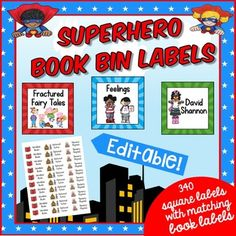 Superhero Sunray Book Bin Labels - Use these super hero book bin labels to help get your classroom library under control and organized once and for all! You get 340 labels in various sizes to best fit your needs. Check this out for your preschool, Kindergarten, 1st, 2nd, 3rd, 4th, and 5th grade classroom or homeschool. $