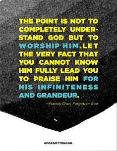 The point is not to completely understand God but to worship Him. Let the very fact that you cannot know Him fully lead you to praise Him for His infiniteness and grandeur. - Francis Chan, Forgotten God