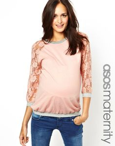 FASHION DUES & DUEN'TS - Retro Maternity Style Category | Asos Maternity Exclusive Top With Lace Raglan Sleeve