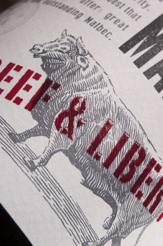 Label detail from Beefsteak Club: Beef & Liberty - thanks Multilabels #wine