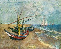 Fishing Bettes at Sainte-Marie de la Mer, Rhône delta, by Vincent Van Gogh