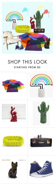 """The rainbow studio"" by lefrenchbazaar ❤ liked on Polyvore featuring interior, interiors, interior design, home, home decor, interior decorating, Sunnylife, Serax, Converse and vintage"