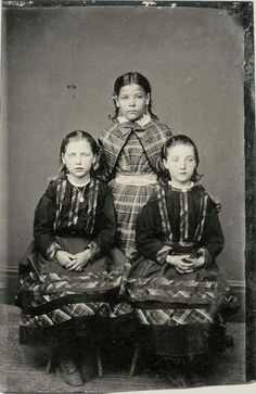 An Antique Tin Type Photo - Lots of Plaid Worn Here