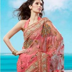 Pink Saree With Peacock Pattern Embroidery is available in just $150.00 http://goodbells.com/saree/pink-saree-with-peacock-pattern-embroidery.html?utm_source=pinterest_medium=link_campaign=pin13juneR15P294