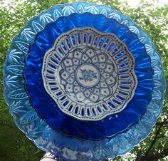 Cobalt Blue Glass Flower Garden Yard Art by BeaUniqueDesigns,