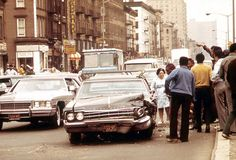 A traffic accident on a crowded street in Harlem, in May of 1973. (Chester Higgins/NARA) #nyc