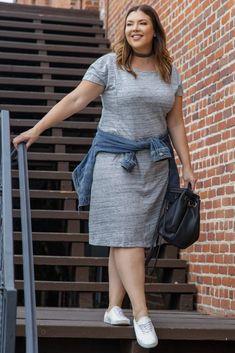 Grey Front Pocket Plus Dress