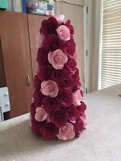 2016 Created by Shannon DeMello   ROSE TOPIARY made by hot gluing  about 64  paper made flowers to a styrofoam cone. Die used Stampin' Up! Spiral Flower Originals Die 129379 Price: $18.00