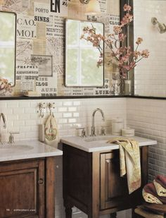 I'll bet you could decoupage over those horrible big mirrors in bathrooms and then hang smaller mirrors over top.