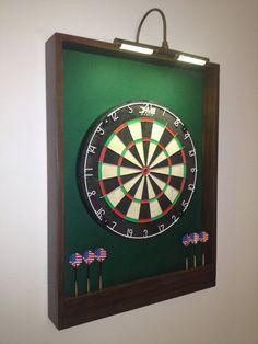 LIGHTED Hunter Green w/ Dark Brown Trim Dart Board Backboard/Surround Dartboard Cabinet - For Game Room, Man Cave or Gift Idea