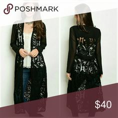 """LACE BELTED DUSTER 80/20 poly/nylon beautiful floral scroll pattern 47"""" Length Comfort, Lightweight! Boutuque Sweaters Cardigans"""