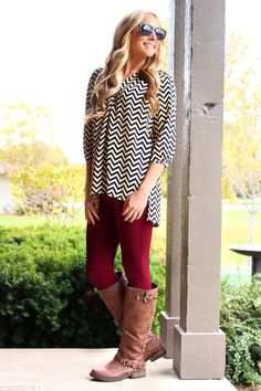 Love the shirt and pants. Would pair with brown boots, but not those brown boots