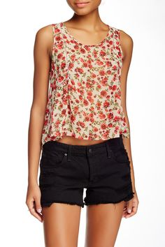 Hi-lo Crochet Detail Sleeveless Tank (Juniors) by Lush on @nordstrom_rack