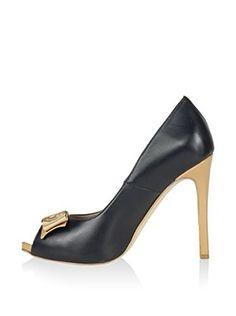 Federica Bassi Zapatos peep toe (Negro / Capuchino)
