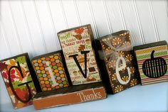 "Double Sided Wood Blocks... ""Give Thanks"" & ""Merry Christmas"".  Get 2 decorations in one set.. $30.00, via Etsy."
