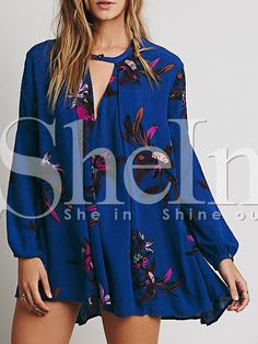 Shop Blue Long Sleeve Vintage Print Dress online. SheIn offers Blue Long Sleeve Vintage Print Dress & more to fit your fashionable needs.