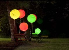 Wedge Electric Votives In Your Balloons For Awesome Backyard Lighting