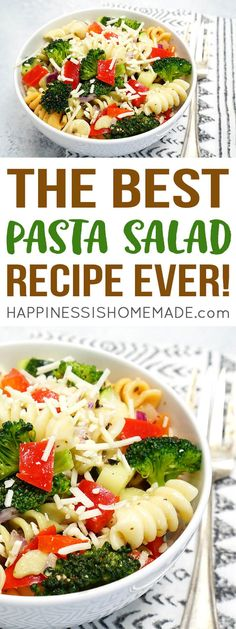 The Best Pasta Salad Recipe Ever! Quick, easy, and perfect for potlucks, picnics, and get-togethers! Everyone will be asking you for the recipe! (Best Ever Pasta) Vegetable Pasta Salads, Tuna Salad Pasta, Best Pasta Salad, Pasta Salad Recipes, Soup Recipes, Vegetarian Recipes, Cooking Recipes, Healthy Recipes, Lunch Recipes