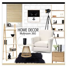 """""""multiroom 360"""" by isatusia ❤ liked on Polyvore featuring interior, interiors, interior design, home, home decor, interior decorating, Tempaper, Dimond, Pottery Barn and Tom Dixon"""