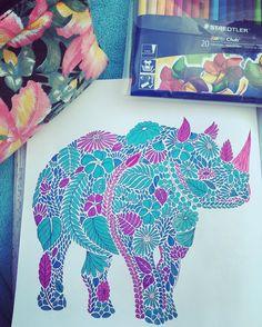 Adultcoloringbook Adultcolouring Milliemarotta Animalkingdom Coloring BookColouringRhinosAnimal