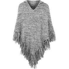TOPSHOP Knitted Hooded Tassel Poncho found on Polyvore featuring outerwear, jackets, poncho, tops, cardigans, monochrome, hooded poncho and topshop
