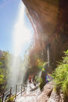 Emerald Pools Waterfall - Zion National Park. Click to see more beautiful Zion hikes!