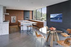 #modern #kitchen White marble. Walnut. Indoor wood fired oven.