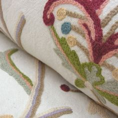 Crewel work fabric for curtains, blinds and cushions.