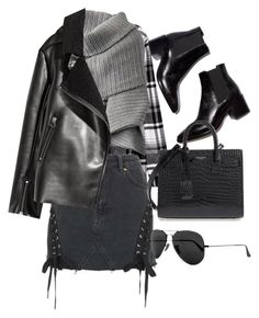 """""""Untitled #10382"""" by katgorostiza ❤ liked on Polyvore featuring Topshop, Yves Saint Laurent, Acne Studios and Ray-Ban"""