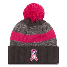 online store e0c04 b9b0d Indianapolis Colts New Era Breast Cancer Awareness Sideline Cuffed Pom Knit  Hat - Heather Gray