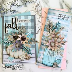 Paper Craft Supplies, Paper Crafts, Soft Summer Palette, Honey Bee Stamps, Bee Cards, Fall Bouquets, Fall Cards, Christmas Cards, Thanksgiving Cards
