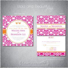 Printable Wedding Invitation and RSVP - Damask. $35.50, via Etsy.