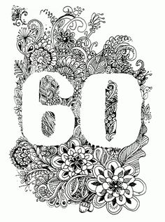 Zentangle Inspired Art zum 60. Geburtstag (Geburtstagskarte / Birthday Card)