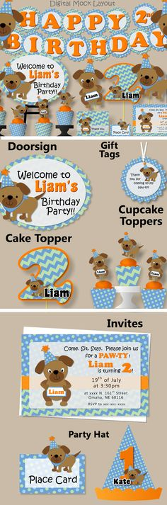 Puppy Birthday Party Decorations - Banner, Invitations, Favor Tags, Cupcake Toppers, Party Hat #bcpaperdesigns
