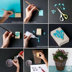 Como fazer carimbo caseiro com EVA - Dicas e passo a passo com fotos - DIY stamps - Tutorial - How to - Madame Criativa - www.madamecriativa...